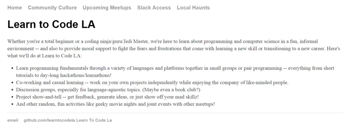 Learn to Code LA website version 1